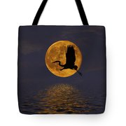Heron And The Harvest Moon Tote Bag