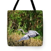 Heron Flying Along The River Bank Tote Bag