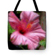 Hibiscus With A Blurred Enamel Effect Tote Bag