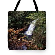 High Angle View Of A Waterfall, Glenoe Tote Bag