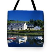 High Angle View Of Boats Moored At A Tote Bag