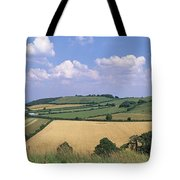 High Angle View Of Patchwork Fields Tote Bag