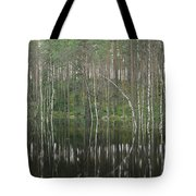 High Waters In A Forest Of Evergreens Tote Bag