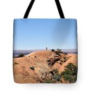 Hiker At Edge Of Upheaval Dome - Canyonlands Tote Bag
