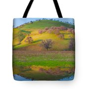 Hill Reflection In Pond Tote Bag