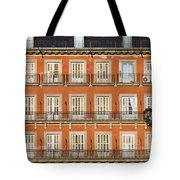 Historic Facade At Plaza Mayor In Madrid Tote Bag