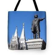 Historic Salt Lake Mormon Lds Temple And Brigham Young Tote Bag