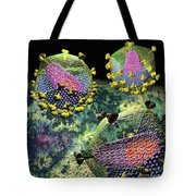Hiv Three Sectioned Virions On Black Tote Bag