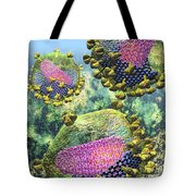 Hiv Three Sectioned Virions On Blue Tote Bag
