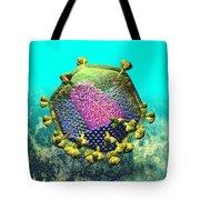 Hiv Virion Translucent On Blue Tote Bag