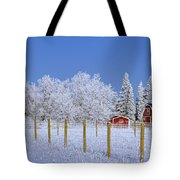 Hoarfrost On Trees Around Red Barns Tote Bag