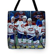 Hockey Art At Bell Center Montreal Tote Bag