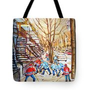 Hockey Game Near Winding Staircases Tote Bag