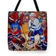 Hockey Game Scoring The Goal Tote Bag by Carole Spandau