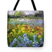 Hoeing Team And Iris Fields Tote Bag