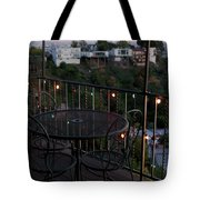 Holiday Deck At Dusk Tote Bag by Lorraine Devon Wilke