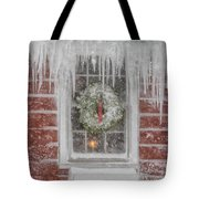 Holiday Wreath In Window With Icicles During Blizzard Of 2005 On Tote Bag