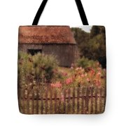 Hollyhocks And Thatched Roof Barn Tote Bag