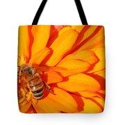 Honeybee On An Orange Zinnia Tote Bag