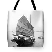 Hong Kong Harbor - Chinese Junk Boat - C 1907 Tote Bag