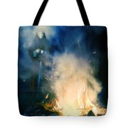 Hooded Figure In A Mask By A Fire Tote Bag