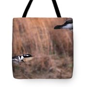 Hooded Merganser Gaining Altitude Tote Bag
