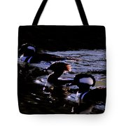 Hooded Mergansers And Moon Glare Tote Bag