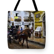 Horse And Buggy In Old Cartagena Colombia Tote Bag by David Smith