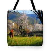 Horse At Field Tote Bag