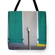 Horse Head Post With Green Doors Tote Bag