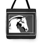 Horse In Black And White Tote Bag