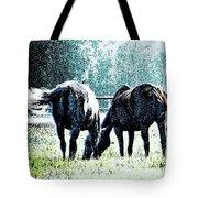 Horse Tails Color Splashed Tote Bag