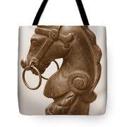 Horse Tether In New Orleans - Sepia Tote Bag
