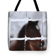 Horse Viewed Through Frost Covered Wire Fence Tote Bag