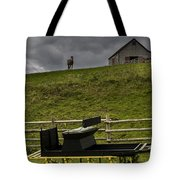 Horse Watching The Carriage Tote Bag by Darcy Michaelchuk