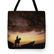 Horseback Rider Silhouetted On A Beach Tote Bag