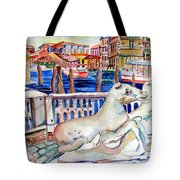 Horses On The Grand Canal Of Venice Tote Bag