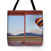 Hot Air Balloon And Longs Peak Red Rustic Picture Window View Tote Bag