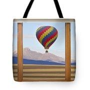 Hot Air Balloon Colorado Wood Picture Window Frame Photo Art Vie Tote Bag