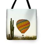 Hot Air Balloon In The Arizona Desert With Giant Saguaro Cactus Tote Bag