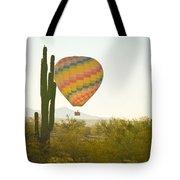 Hot Air Balloon Over The Arizona Desert With Giant Saguaro Cactu Tote Bag