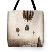 Hot Air Balloons Over 1949 New York City Tote Bag
