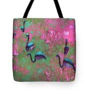 Hot Pink Flamingos Garden Abstract Art  Tote Bag