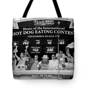 Hotdog Eating Contest Time In Black And White Tote Bag