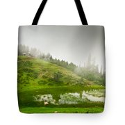 House And Fog Tote Bag by Syed Aqueel