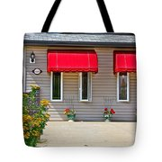 House With Red Shades. Tote Bag