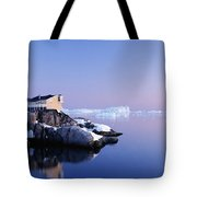 Houses On The Coastline With Icebergs Tote Bag