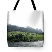 Houses On The Greenery Of The Slope Of A Mountain Next To Lake Lucerne Tote Bag