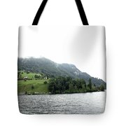 Houses On The Slope Of A Mountain Next To Lake Lucerne Tote Bag