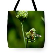 Hoverfly On Grass Tote Bag